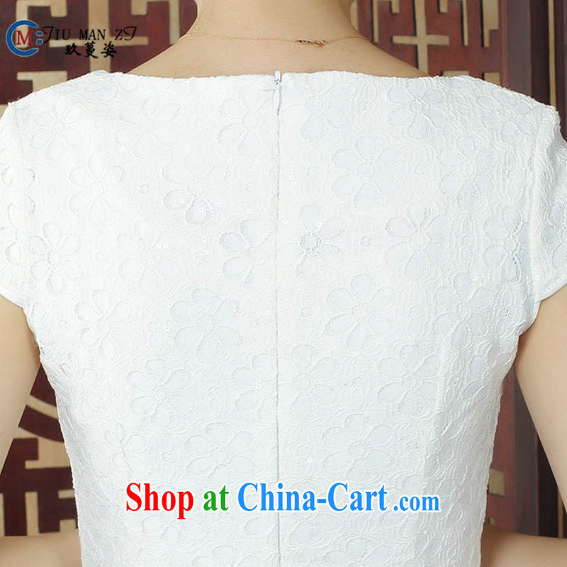 Ko Yo Mephidross beauty factory direct spring and summer retro stylish pure white fresh dresses lace round-collar short-sleeve beauty package and qipao D 0241 white 175/2 XL, capital city sprawl, shopping on the Internet
