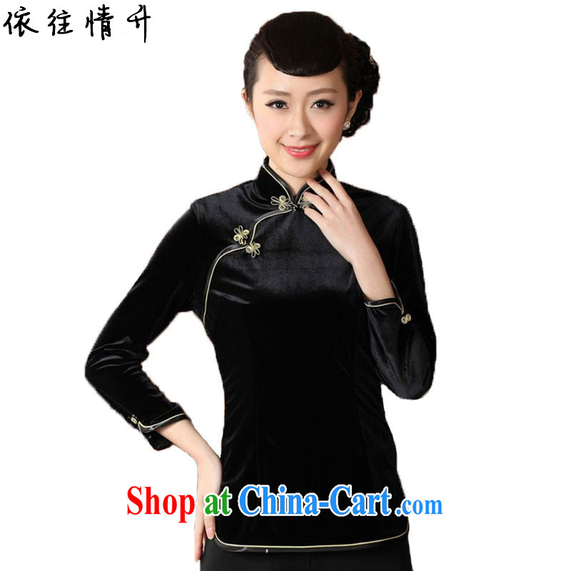 In accordance with the situation in Spring and Autumn and stylish new products, for a tight Solid Color beauty 9 sub-cuff velvet cheongsam shirt LGD_A 0064 _black 3 XL