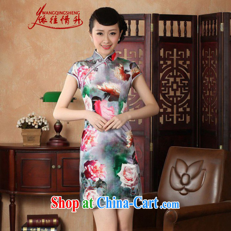 According to summer in new stylish classic stretch gold velour poster short-sleeve Chinese qipao LGD/TD 0012 #picture color 2 XL