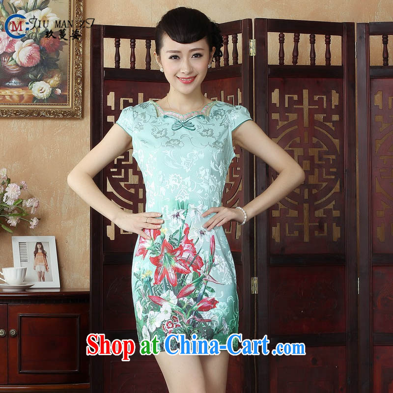 Ko Yo Mephidross colorful factory outlets (Spring/Summer fashion stamp ethnic wind dresses and elegant cotton round neck improved short-sleeved video waist cheongsam D 0243 photo color 175/2 XL