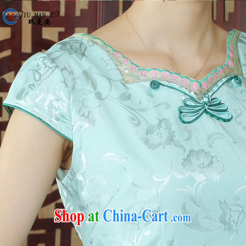 Ko Yo Mephidross colorful factory outlets (Spring/Summer fashion stamp ethnic wind dresses and elegant cotton round neck improved short-sleeved video waist cheongsam D 0243 photo color 175/2 XL, capital city sprawl, shopping on the Internet