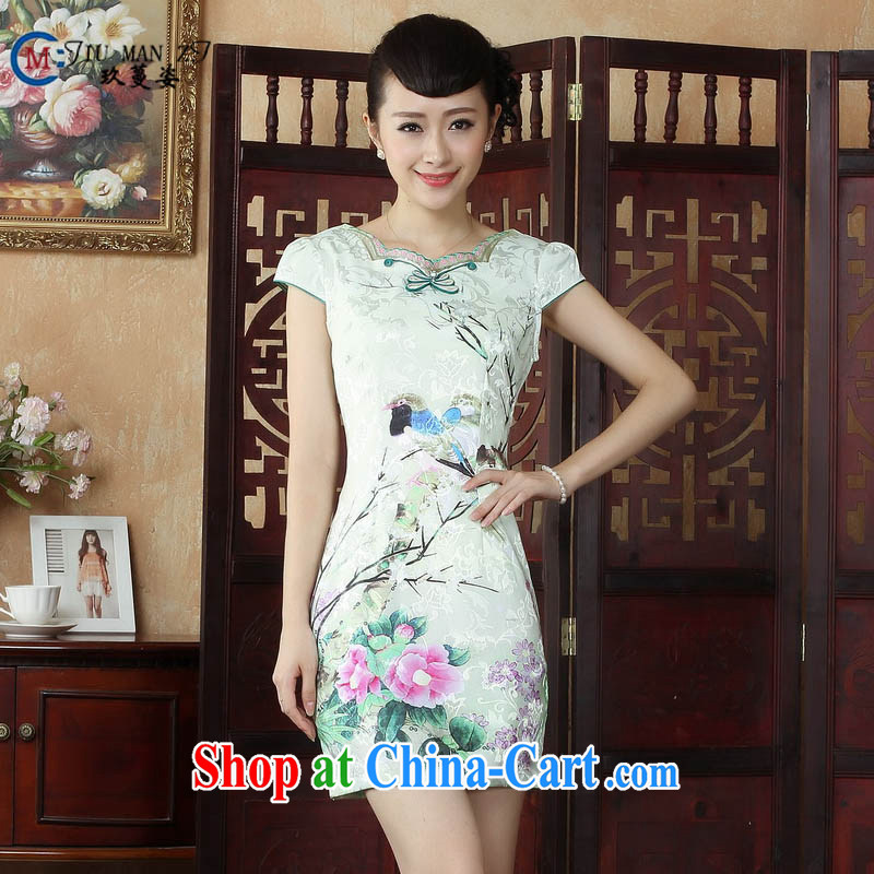 Ko Yo vines into colorful factory direct spring and summer water and ink stamp of Ethnic Wind cotton round neck improved short-sleeved video pockets and cheongsam dress D 0244 photo color 175_2 XL