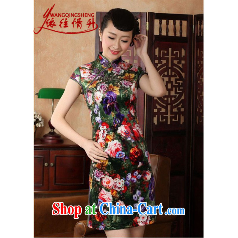 According to summer in new stylish classic stretch gold velour poster short-sleeve Chinese qipao LGD_TD 0012 - A _picture color 2 XL