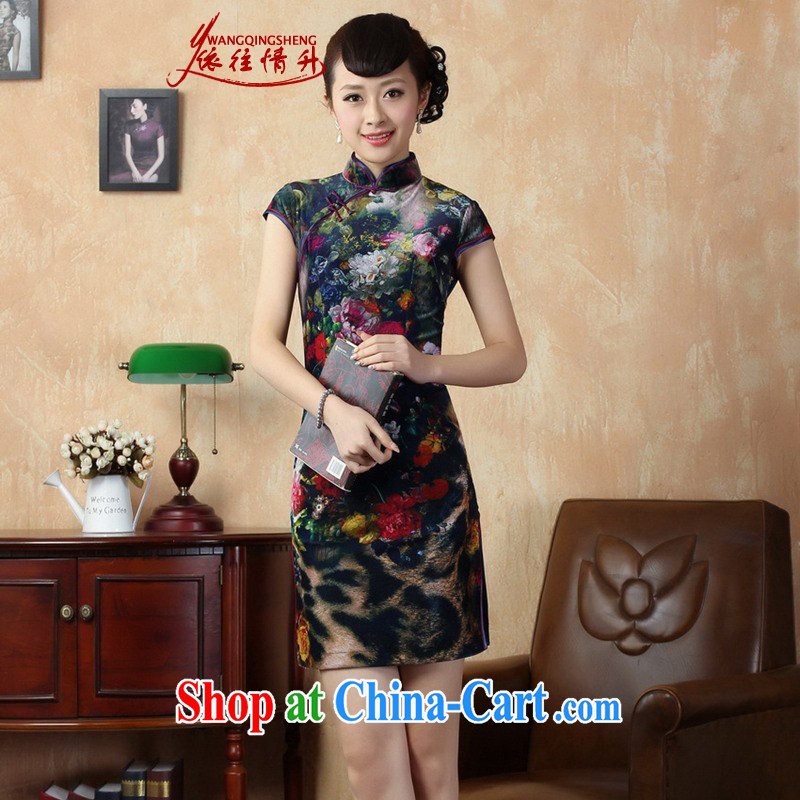 According to summer in new stylish classic stretch gold velour poster short-sleeve Chinese qipao LGD_TD 0011 _picture color 2 XL
