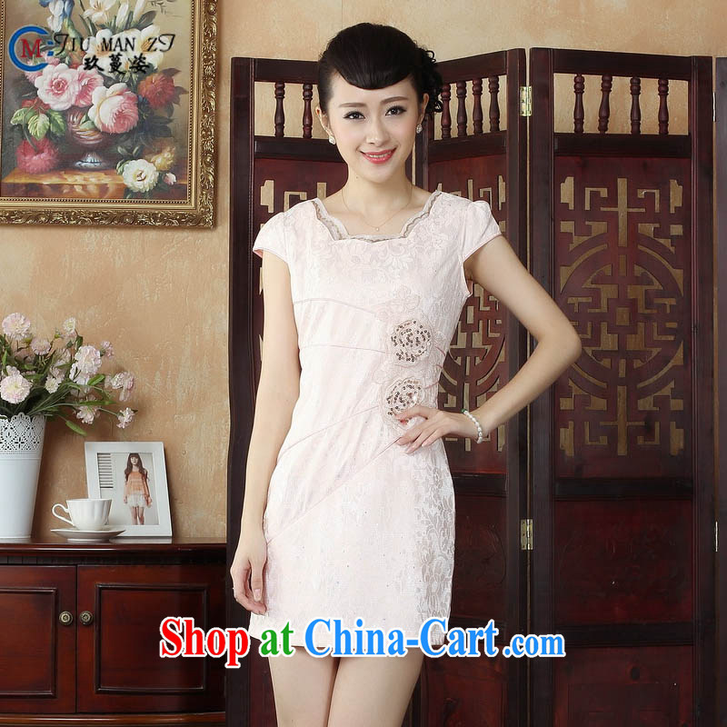 Ko Yo Mephidross beauty factory direct spring and summer stylish, classy cotton dress Ethnic Wind stamp round-collar short-sleeve beauty package and qipao D 0245 picture color 175_2 XL