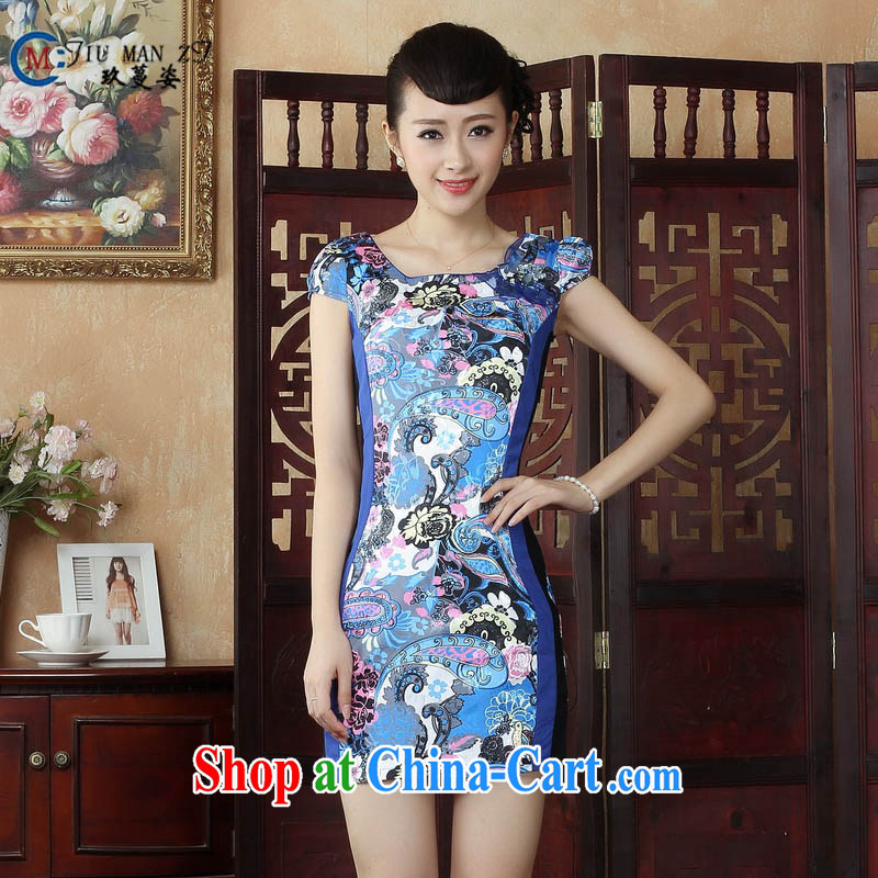 Ko Yo vines into colorful factory outlets (Spring/Summer abstract stylish ethnic wind dresses atmospheric cotton round-collar short-sleeve beauty package and robes D 0246 picture color 165/L