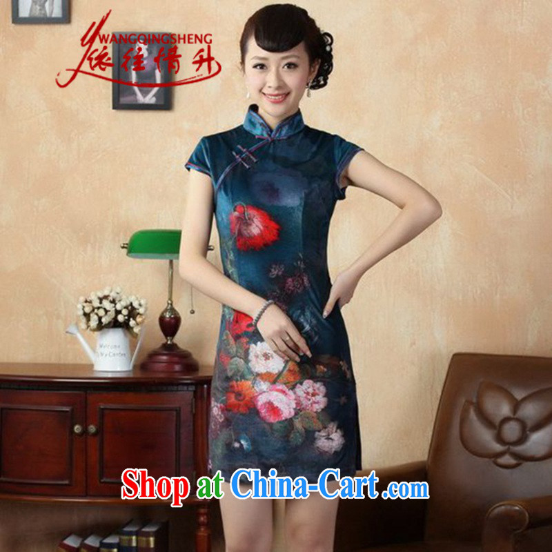 According to summer in new stylish classic stretch gold velour poster short-sleeve Chinese qipao LGD/TD 0011 - A #picture color 2 XL