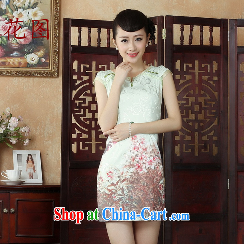 Take the National wind antique stamp Tang with stylish improved cheongsam dress stylish daily short cheongsam dress dress D S 0240