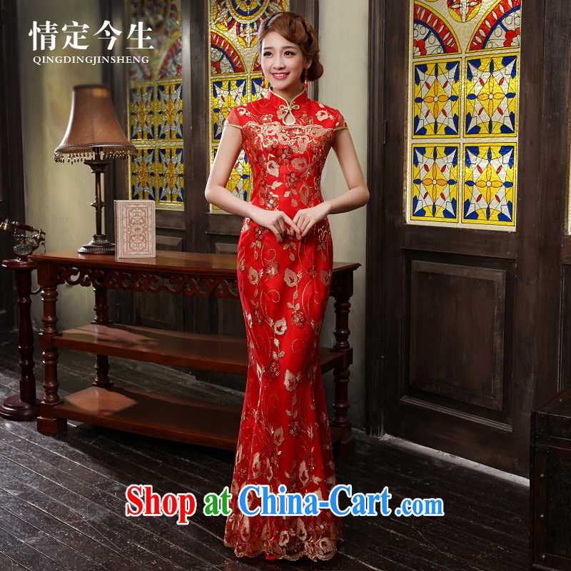 Love Life new 2015 cheongsam dress improved red Chinese Antique crowsfoot wedding dress long bridal toast serving female Red XXL