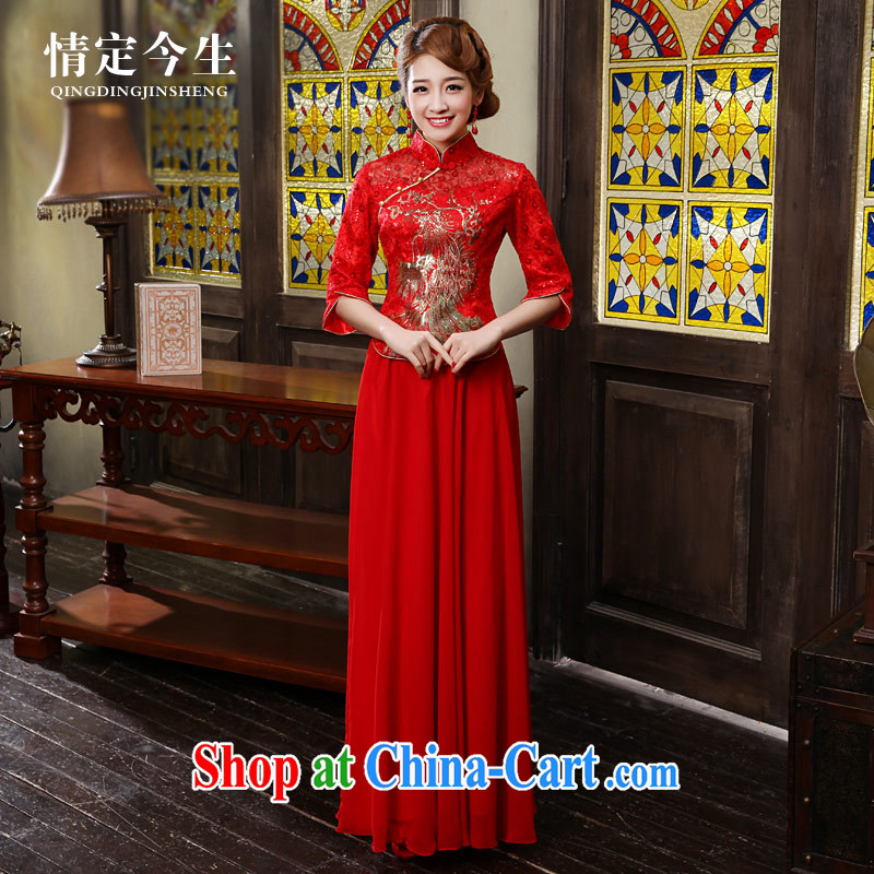 Love Life 2015 new cheongsam dress improved red Chinese Antique Korean dresses wedding dresses long bridal toast serving female Red M