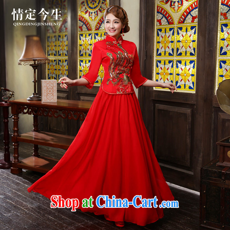 Love Life 2015 new retro improved cheongsam dress red Chinese crowsfoot wedding dress long bridal toast serving female Red S
