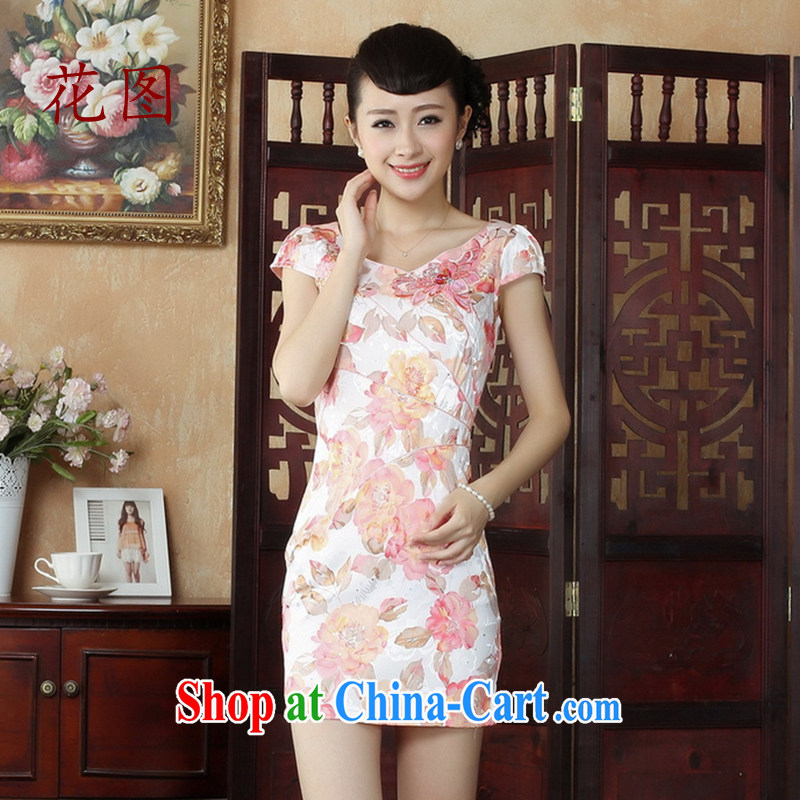 Take the new cheongsam Chinese China wind stylish improved cheongsam dress stylish daily short cheongsam dress dress D 0236 pink 2 XL