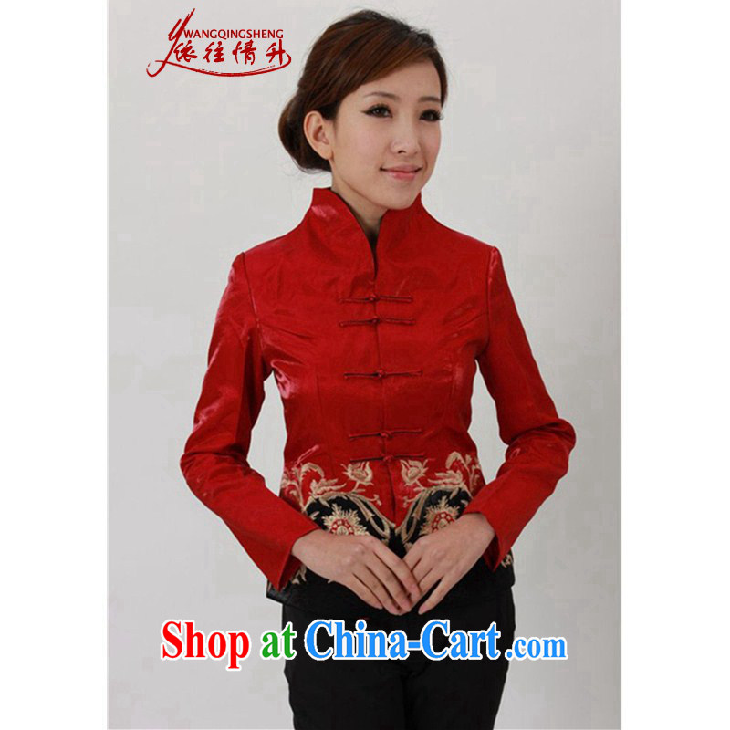 According to the situation in autumn and winter fashion new products and for cultivating T-shirt embroidered Tang jackets LGD_J 0056 _wine red 3 XL
