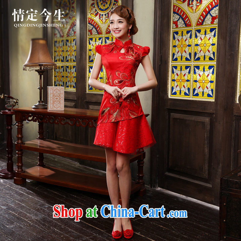 Love Life 2015 summer new cheongsam dress improved red Chinese Antique crowsfoot married women serving toast red XXL