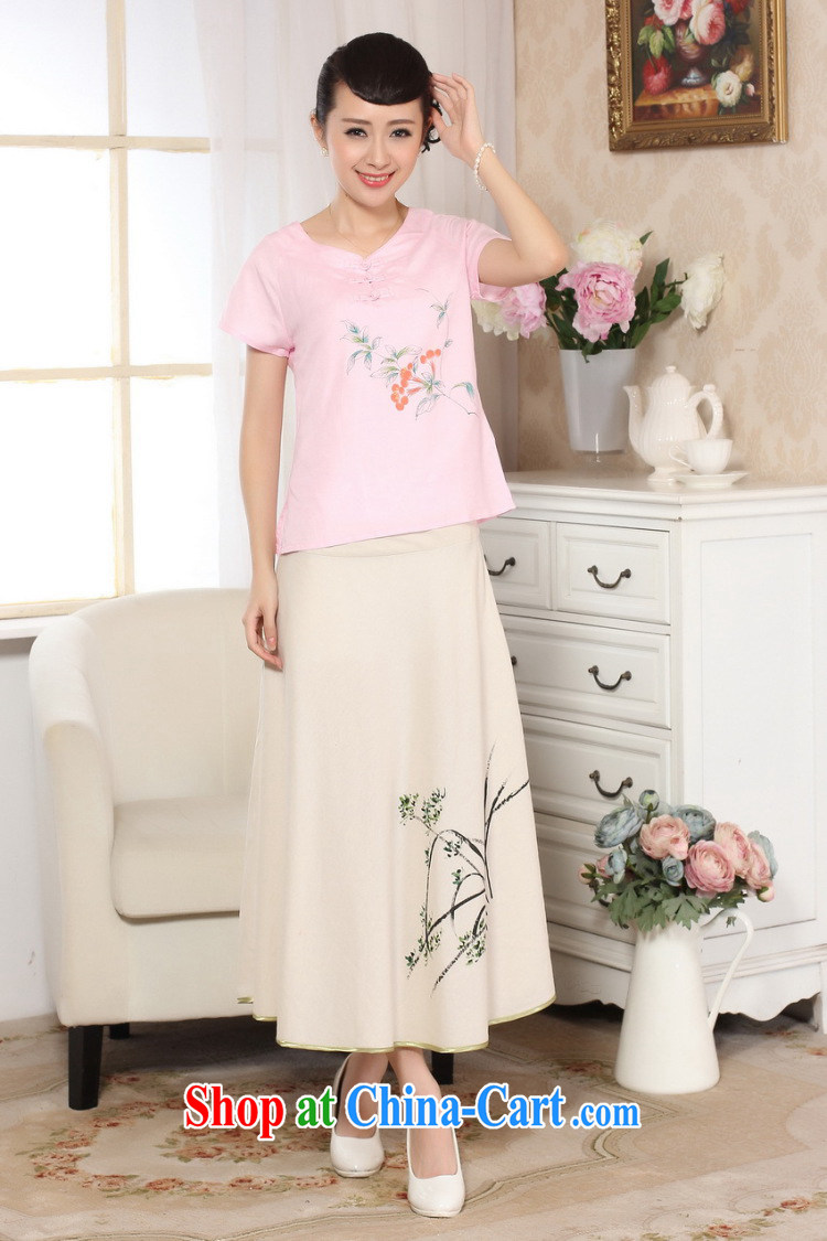 According to the conditions in summer and stylish new short-sleeved cotton Ma hand painted Ethnic Wind Chinese T-shirt LGD/A 0072 #pink 2 XL pictures, price, brand platters! Elections are good character, the national distribution, so why buy now enjoy more preferential! Health