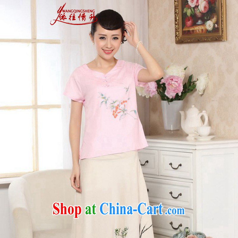 According to the conditions in summer and stylish new short-sleeved cotton Ma hand painted Ethnic Wind load short T-shirt LGD/A 0072 #pink 2 XL