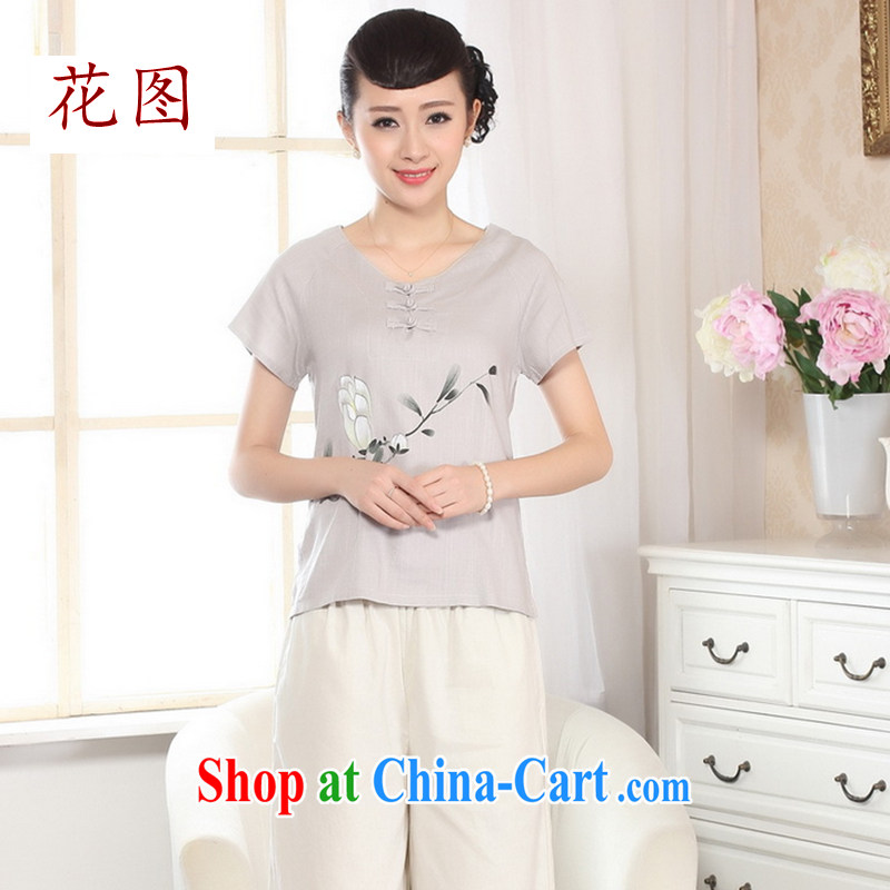 Take the new summer retro hand-painted dresses T-shirt short-sleeved cotton Ma hand-painted shirt ethnic wind women A picture color 2 XL