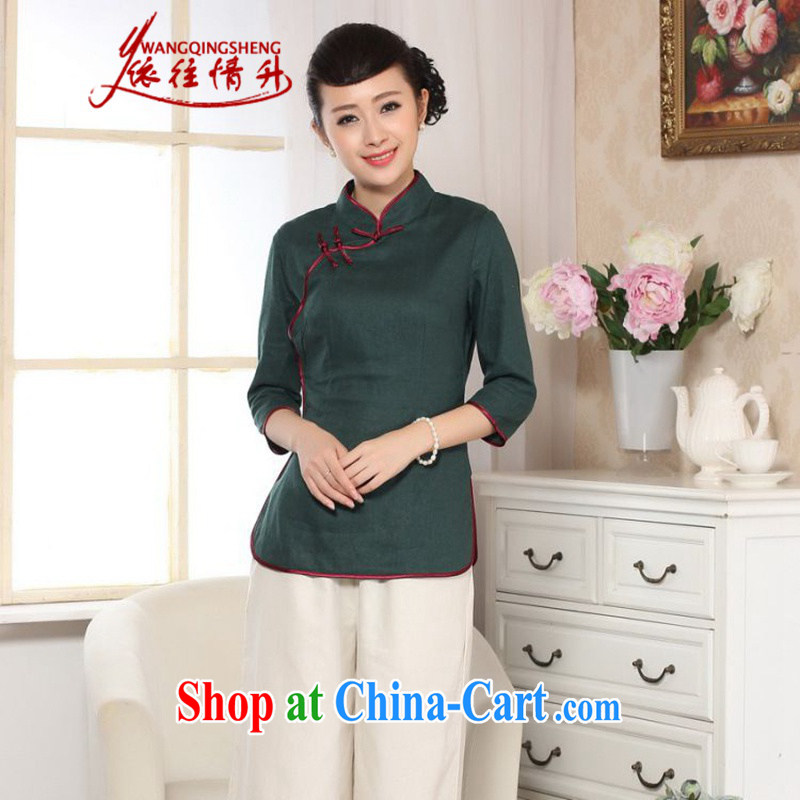 In accordance with the conditions in summer and stylish new cotton linen Ethnic Wind hand-painted blouses 7 cuff Tang replace LGD/0071 dark green #2 XL