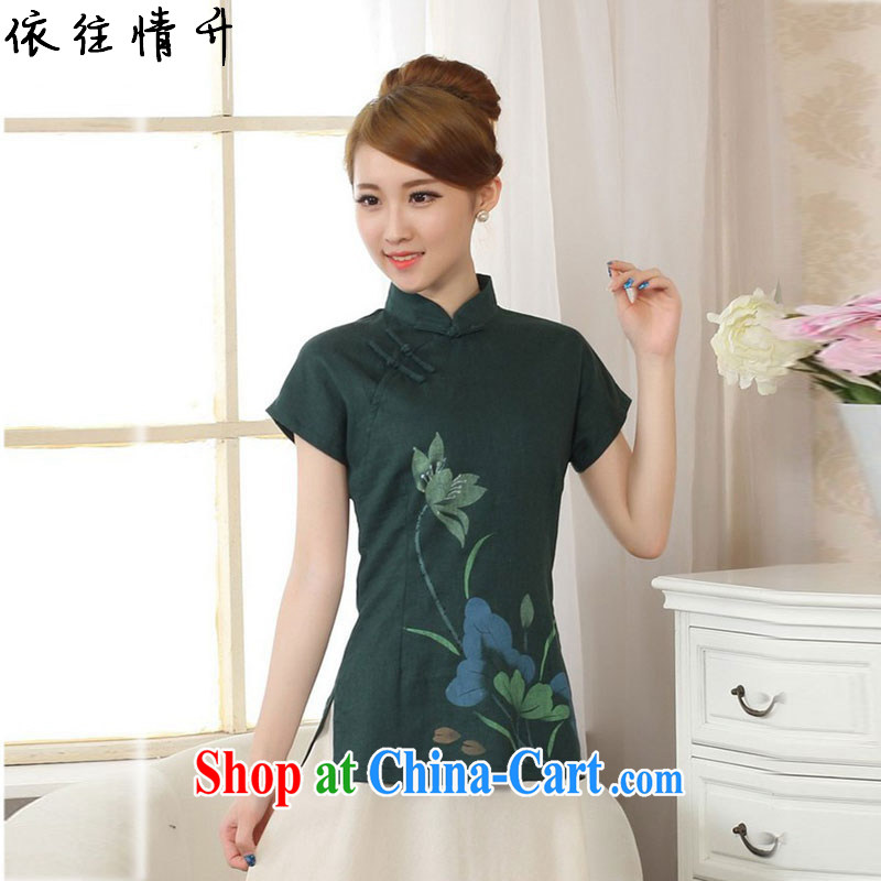 According to the conditions in summer and stylish new linen Ethnic Wind hand-painted blouses short-sleeved Sau San Tong load LGD/A 0067 dark green #2 XL