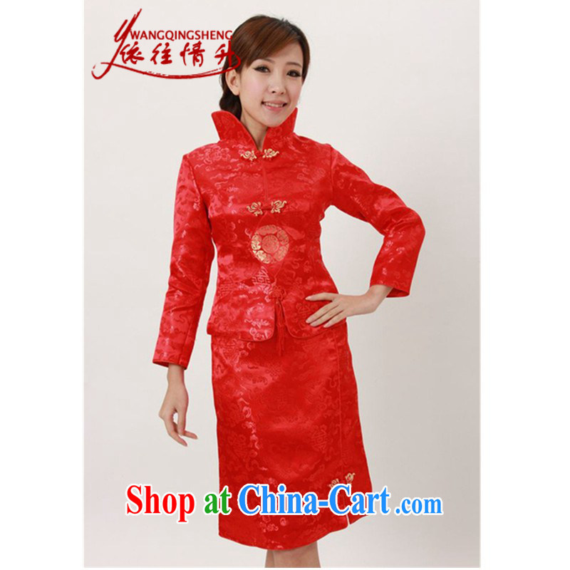 According to the situation in autumn and winter, new, for cultivating two-piece Chinese qipao bride toast serving serving LGD/Q 0009 #red 2 XL