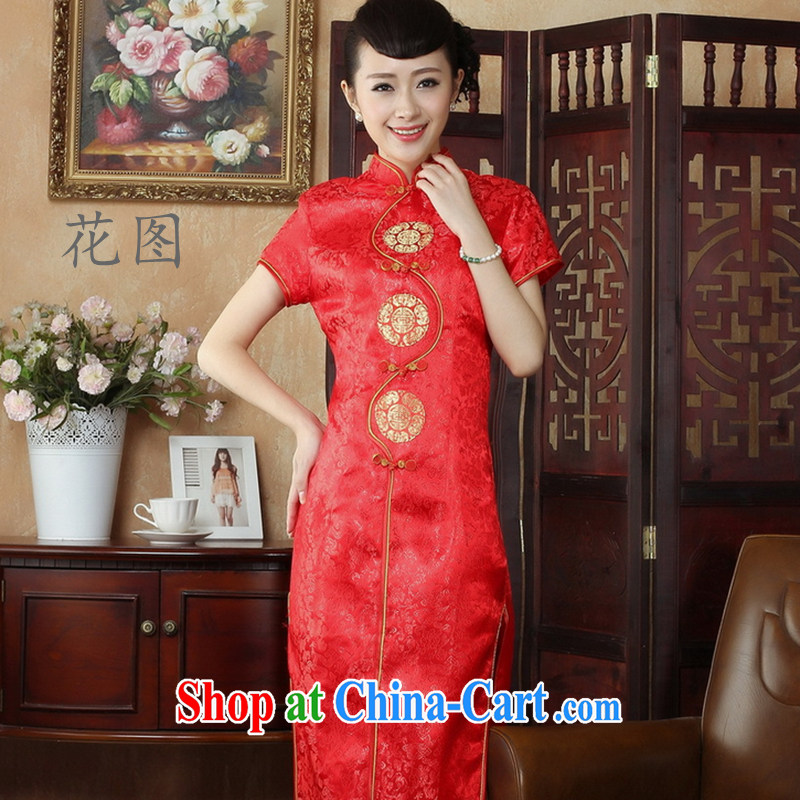 The payment takes the Chinese qipao married long robes, for 4 tablets for damask cheongsam red 3XL