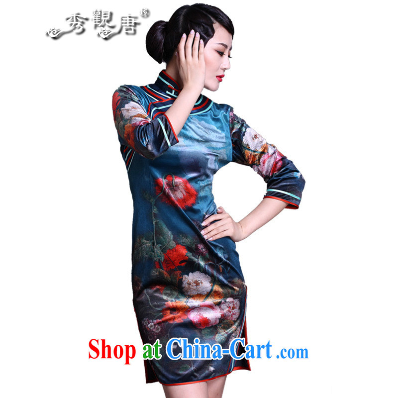 The CYD HO Kwun Tong' blue Ping Hong Kong 2015 spring in antique dresses cuff classic digital stamp dress cheongsam dress G 91,138 fancy XXXL