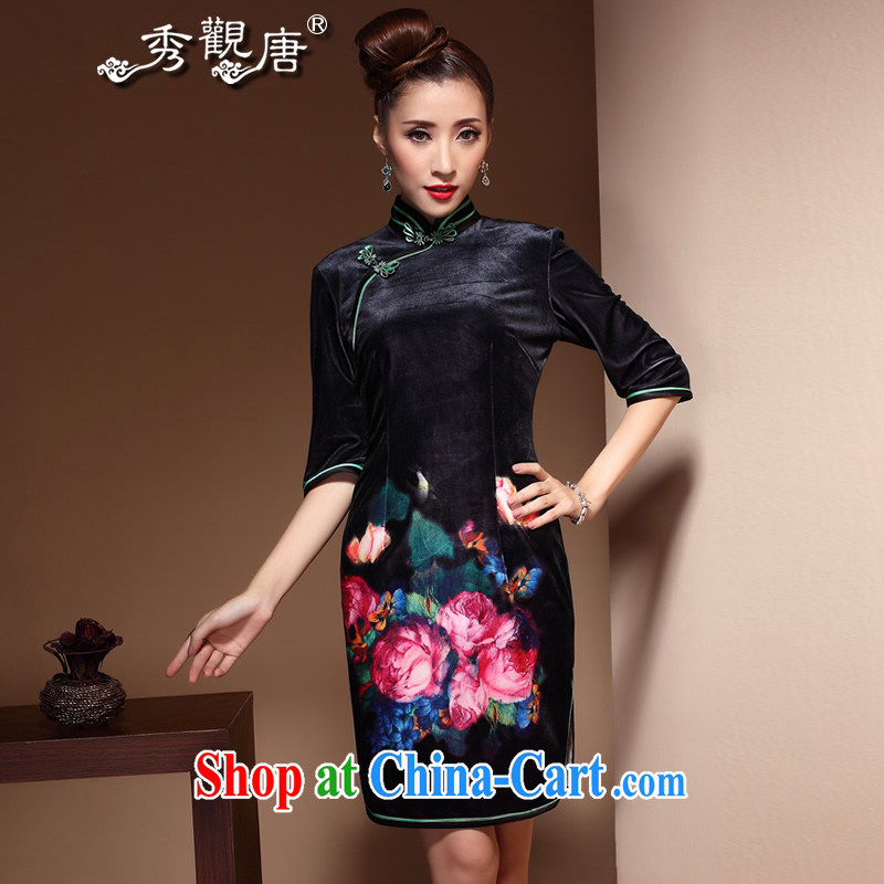 The CYD HO Kwun Tong' Mr NGAN Kam-chuen Hong Kong autumn 2014 the MOM wool dresses retro, for upscale velvet dress skirt QZ 3861 black XXXL
