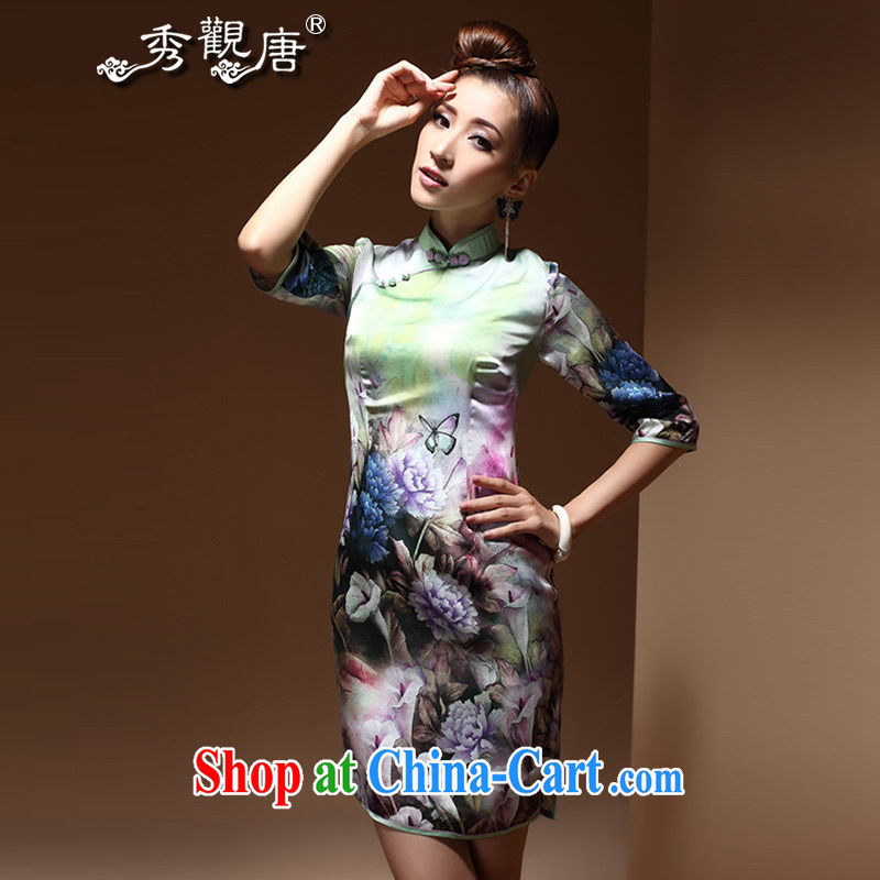 The CYD HO Kwun Tong' butterflies and, Autumn 2014 the new cuff in cheongsam high-end digital stamp antique cheongsam dress QZ 3814 fancy S