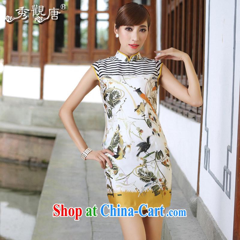 The CYD HO Kwun Tong' thrush 2015 summer stitching knocked color new cheongsam dress striped retro stamp dresses QD 4286 fancy XL