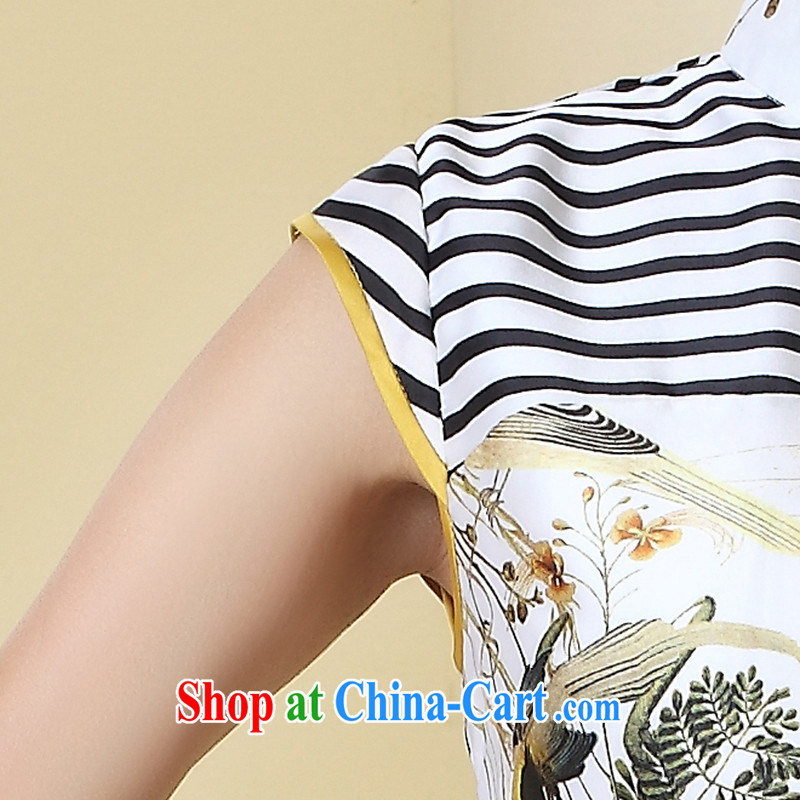 The CYD HO Kwun Tong' thrush 2015 summer stitching knocked color new cheongsam dress striped retro stamp dresses QD 4286 XL suit, Sau looked Tang, shopping on the Internet