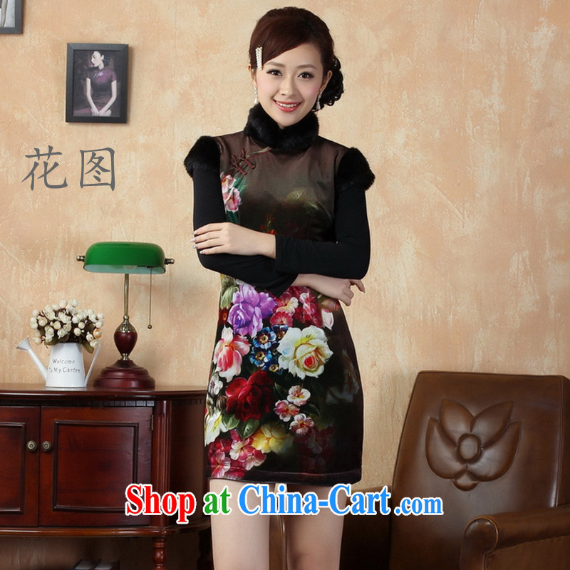 Take the new winter clothes Chinese qipao wool Classic tray snaps up for classic women cheongsam - A picture color 2 XL