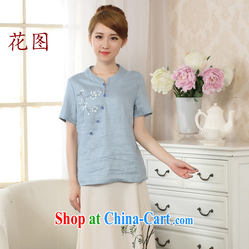 The spend the summer new retro hand-painted dresses T-shirt short-sleeved cotton Ma hand-painted shirt ethnic wind girl 5 picture color M