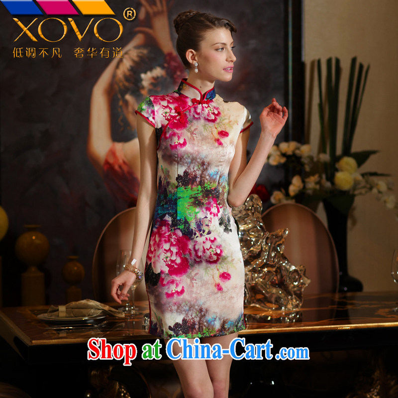 XOVO big female-Sik Yen hand-painted silk 2014 summer improved stylish heavy Silk Cheongsam retro sauna Silk Cheongsam dress of snow Peony XXL