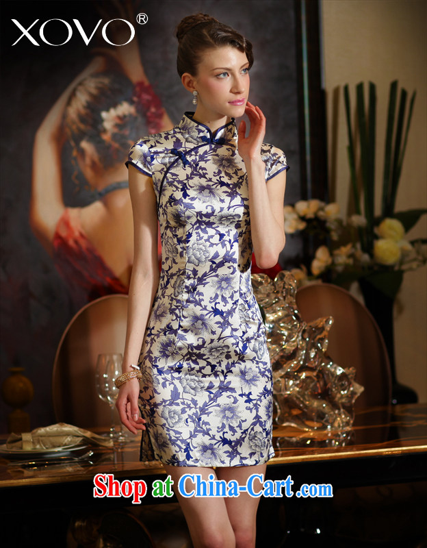 XOVO high-end female big blue and white porcelain 2014 summer improved stylish Silk Cheongsam female retro sauna Silk Cheongsam dress Chan Yuk-ching spent XXL