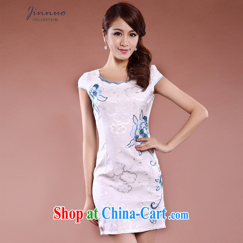 Kam, summer and autumn with new female marriage toast clothing White Dress short skirt improved daily dresses Lace Embroidery floral dresses elegance beauty video gaunt waist white XXL