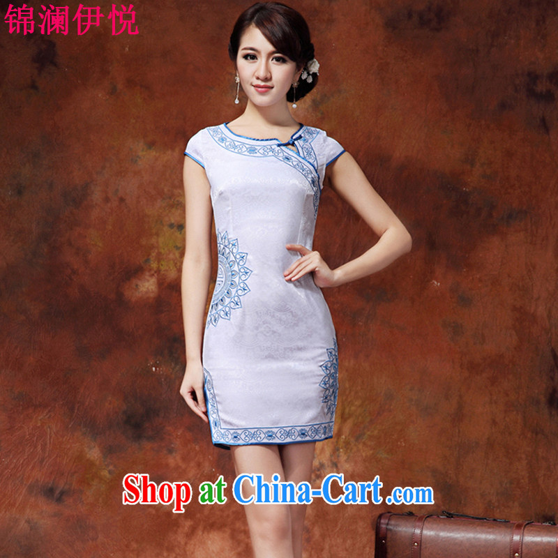 Kam-world the Hyatt summer new women with sweet lady elegant beauty graphics thin the uniform attire improved daily cheongsam dress high waist short skirt and white blue XL