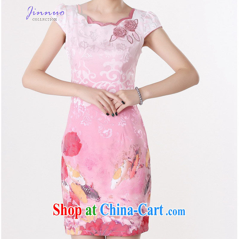Kam-world the Hyatt 2014 summer new women with short-sleeved beauty graphics thin elegant sweet lady improved daily dress cheongsam dress short skirt dress skirt pink XXL