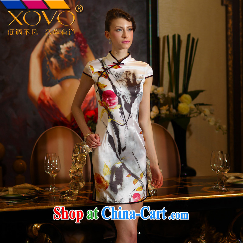 XOVO high-end ladies' 2014 summer, Mr NGAN Kam-chuen _hand-painted mulberry silk improved stylish retro Silk Cheongsam shirt sauna Silk Cheongsam dress water the Peony XXL