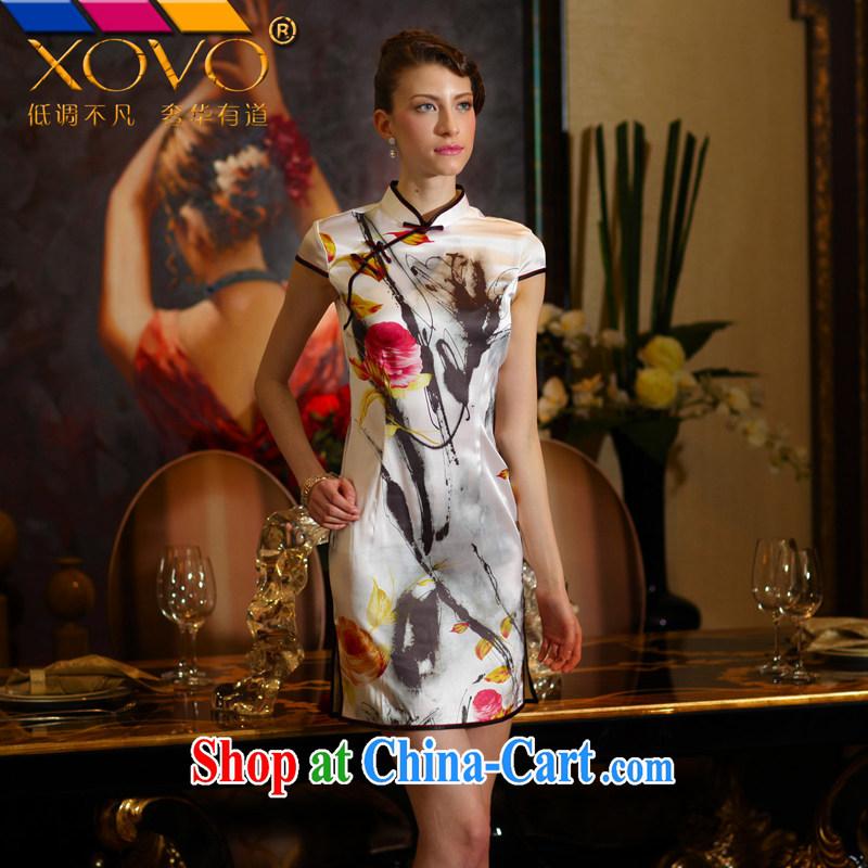 XOVO high-end ladies' 2014 summer, Mr NGAN Kam-chuen _hand-painted mulberry silk improved stylish retro Silk Cheongsam shirt sauna Silk Cheongsam dress water the Peony XXL