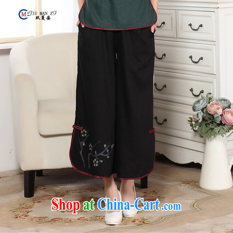 Capital city sprawl, Ms. Tang 9 pants older fat MOM spring and summer load larger horn wide leg cotton the Chinese Ethnic Wind P 0012 black L/2 feet 1 - 2 feet 5