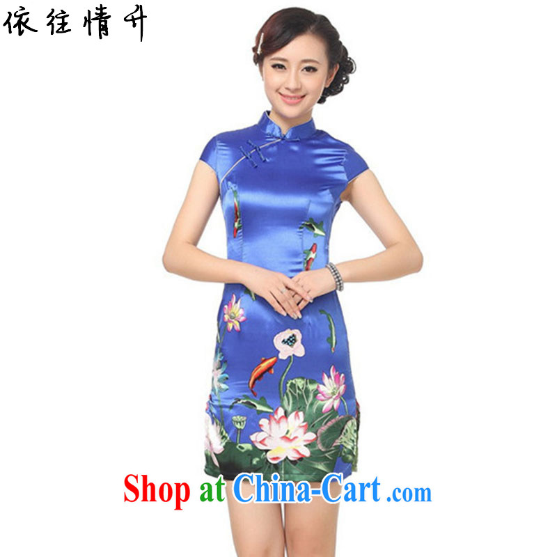 According to the situation in summer 2015 trendy new name Ethnic Wind Lotus stamp cultivating Chinese qipao LGD_D 0183 _PO blue 2 XL
