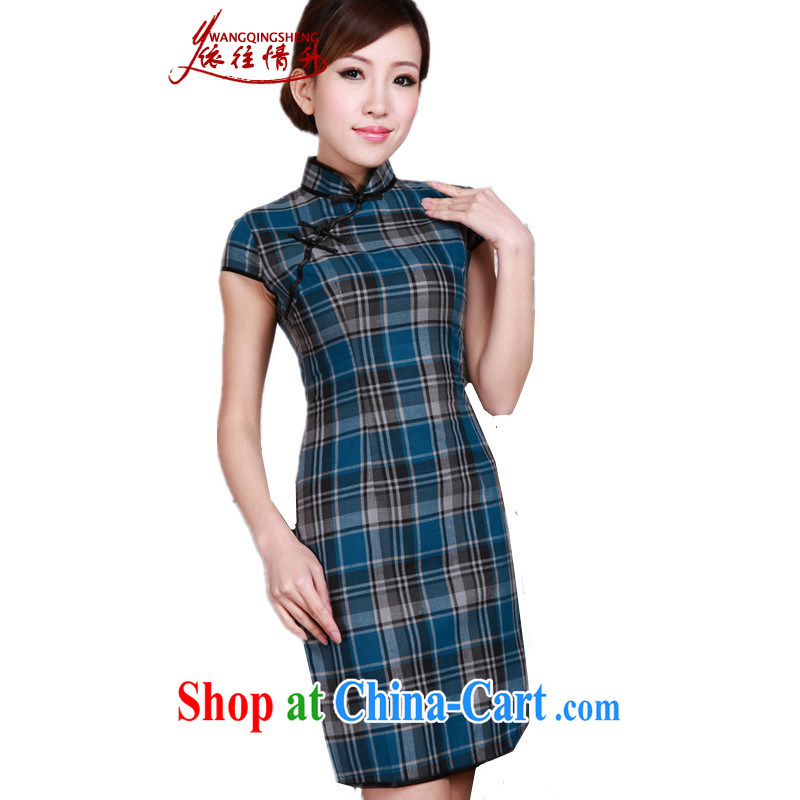 According to the situation in summer 2015 trendy new products, for a tight lattice cultivating Chinese qipao LGD/D 0171 #blue 2 XL