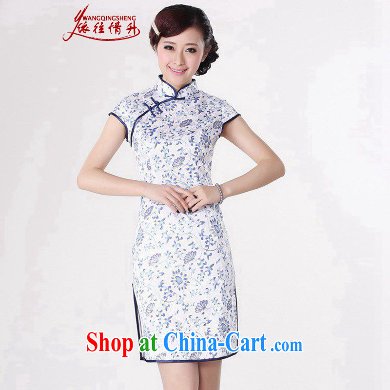 In accordance with the situation in summer 2015 trendy new products, for a tight budget stamp short sleeve cheongsam LGD/D 0205 #Blue on white 2 XL