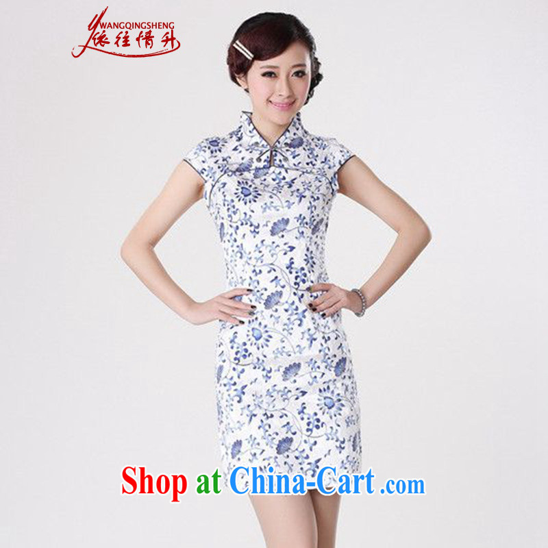 According to the situation in 2015 is a tight and stylish new products, stamp duty for cultivating cheongsam dress LGD/D 0207 #Blue on white 2 XL