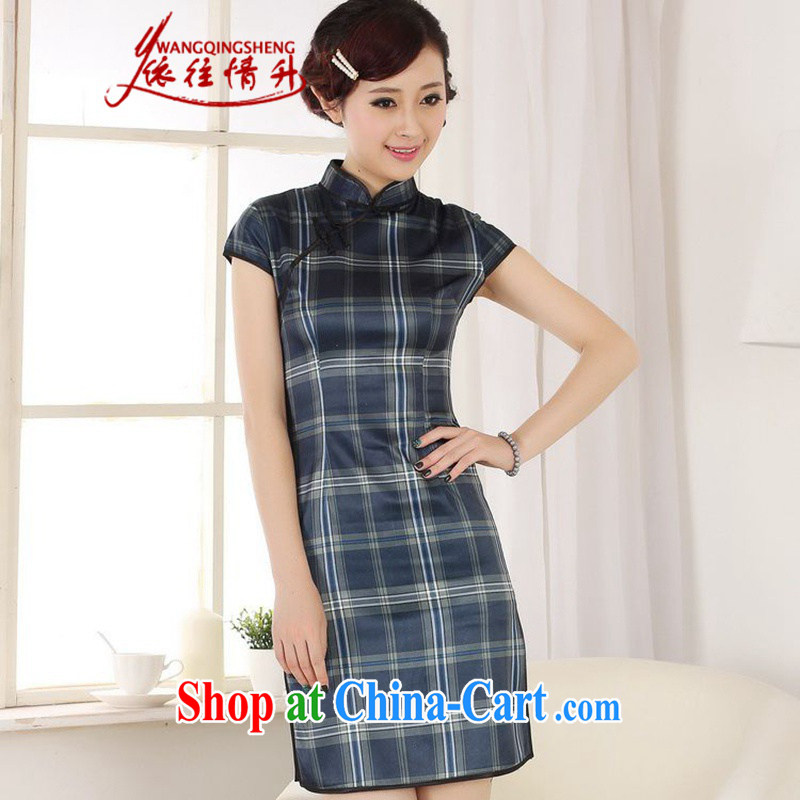 In accordance with the conditions in summer and stylish new products, for a tight plaid stitching cultivating cheongsam dress LGD/D 0202 #blue 2 XL