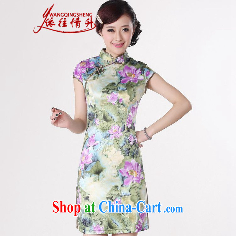 In accordance with the conditions in summer and stylish new products, for a tight budget cultivating Lotus cheongsam dress LGD/D #0200 purple 2 XL