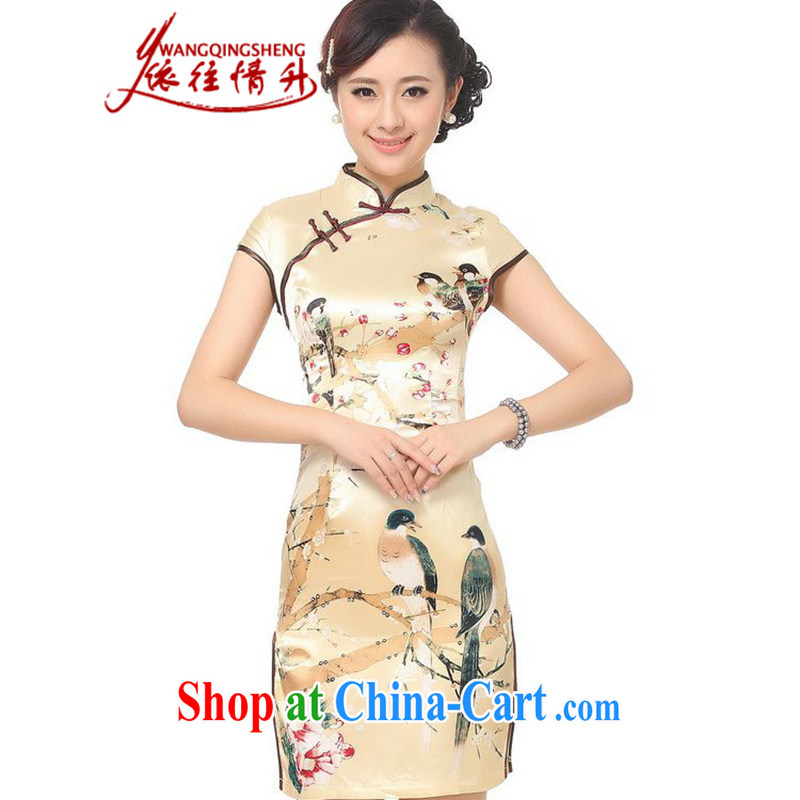 In accordance with the conditions in summer and stylish new products, for a tight beauty stamp duty cheongsam dress LGD_D 0197 _gold XL