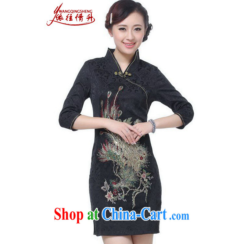 According to the situation in summer fashion new female Chinese qipao, for Peacock embroidery cheongsam beauty dresses LGD_E 0012 _black 2 XL