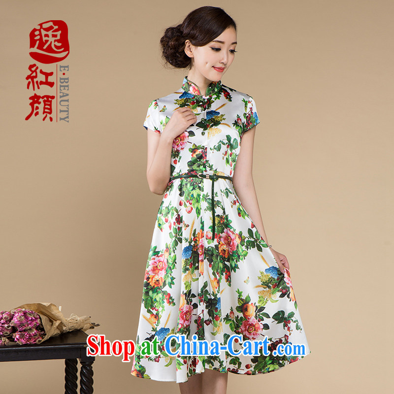 once and for all, without Wind Flower silk China wind up collar dresses summer new laptops have stamp girl with skirt ethnic wind green L - now do now selling pre-sale 30 days