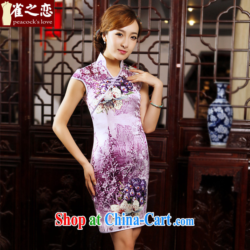 Bird lovers of bustling blooming spring 2015 the new, improved cheongsam stylish short daily Silk Cheongsam floral M